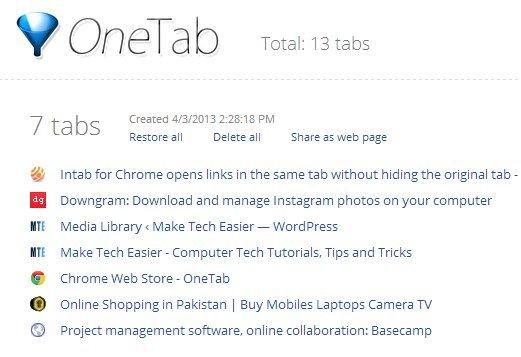 onetab-list-websites