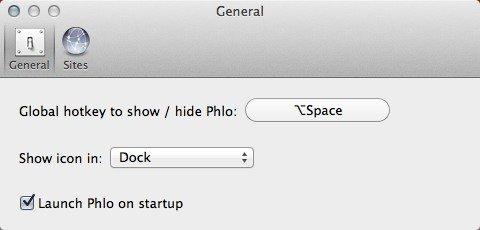 Set a keyboard shortcut for Phlo.
