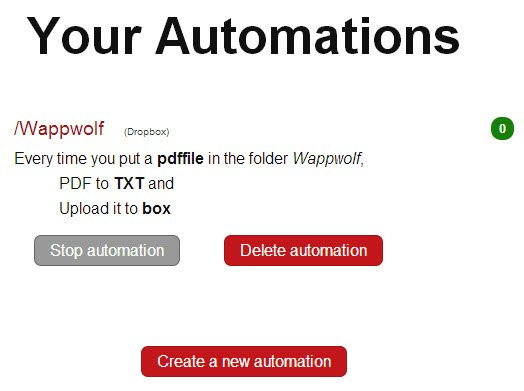 Your automations list; you can stop, delete, and create new ones.