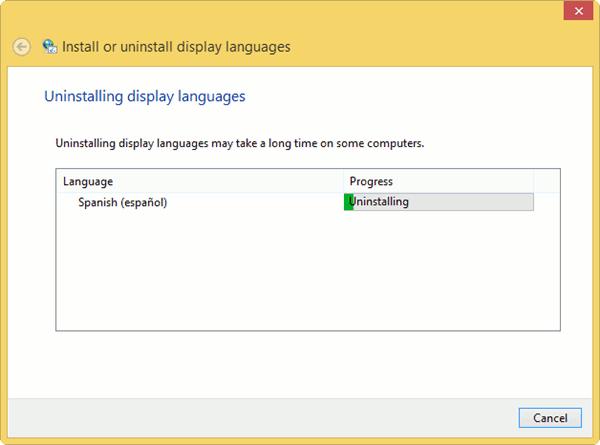 Removing language packs in windows 8