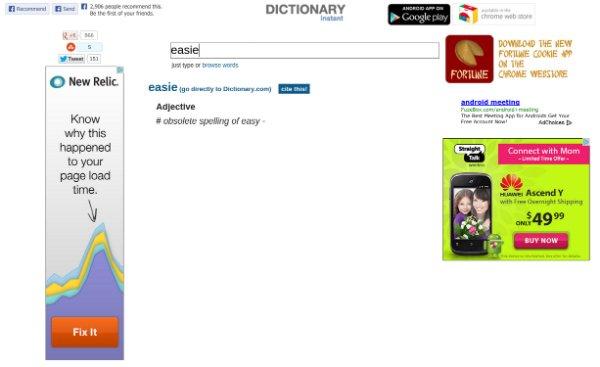 Dictionary Instant Chrome App