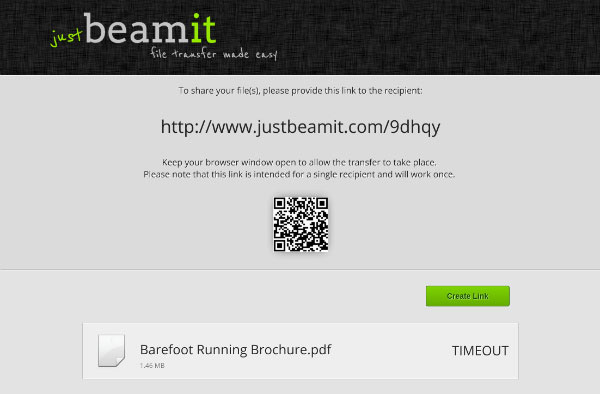 JustBeamIt QR Code Timeout Message