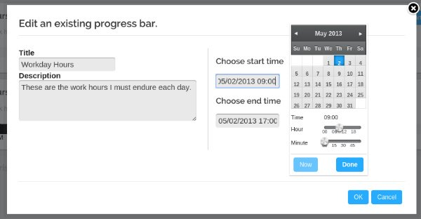 Progress Bar Timer Clock Form
