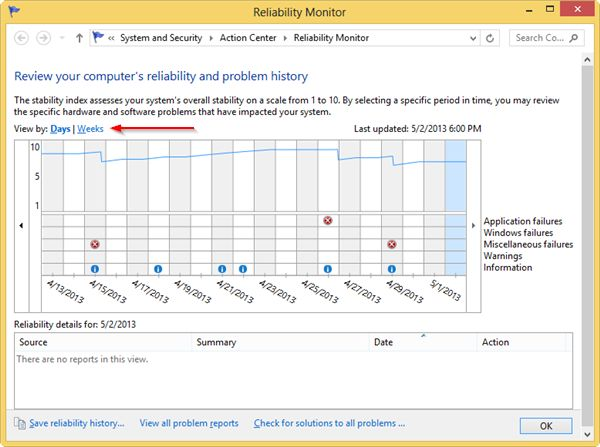 using-the-reliability-monitor