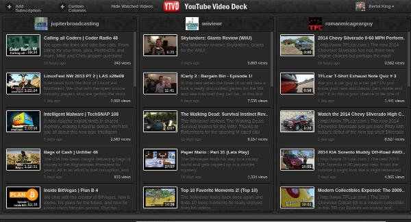 YouTube Video Deck Columns