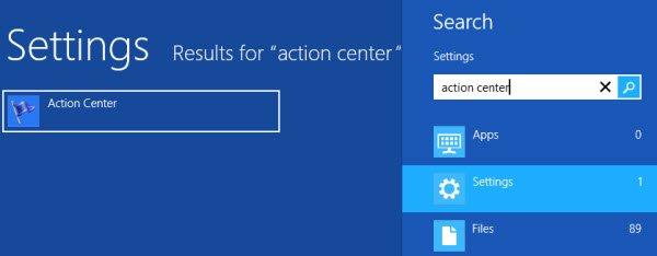 Search for Windows Action Center