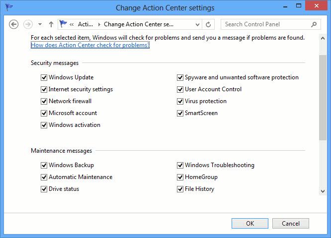 Windows Action Center messages