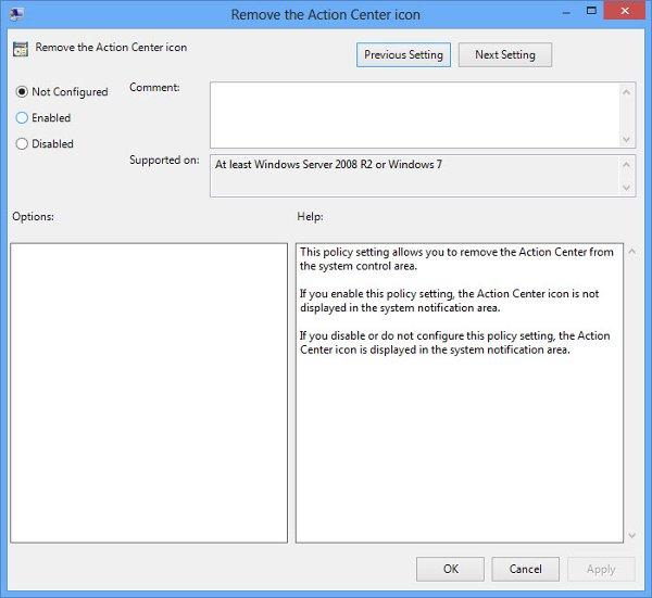 remove Windows Action Center icon