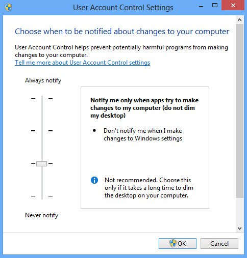 Windows Action Center - configure UAC
