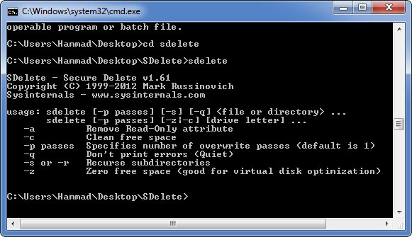 securely delete files with sdelete
