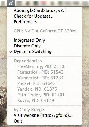 The gfxCardStatus menu bar info.