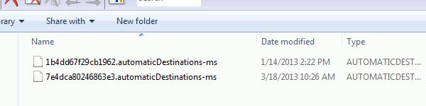 jumplist location in Windows
