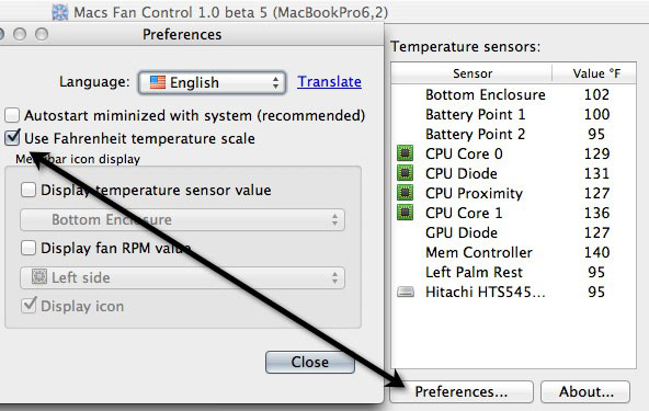 View your temperature sensors and change from Celcius to Fahrenheit.