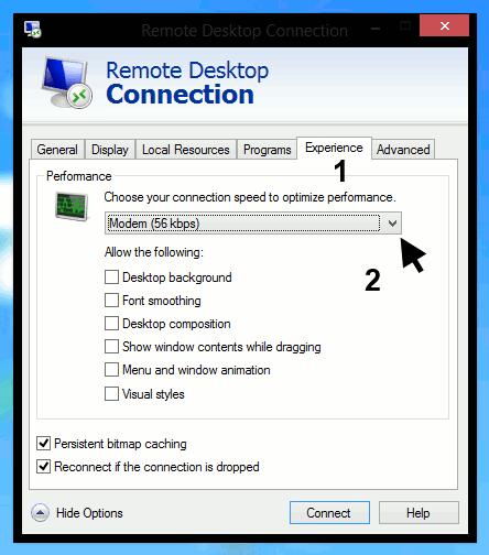 Remote Desktop Connections - show experience