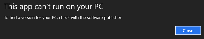 this-app-won't-work in compatibility mode