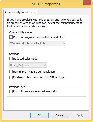 Windows 8 compatibility mode: compatibility-tab
