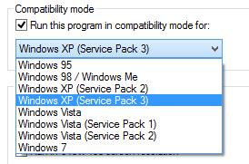 Windows 8 compatibility mode options