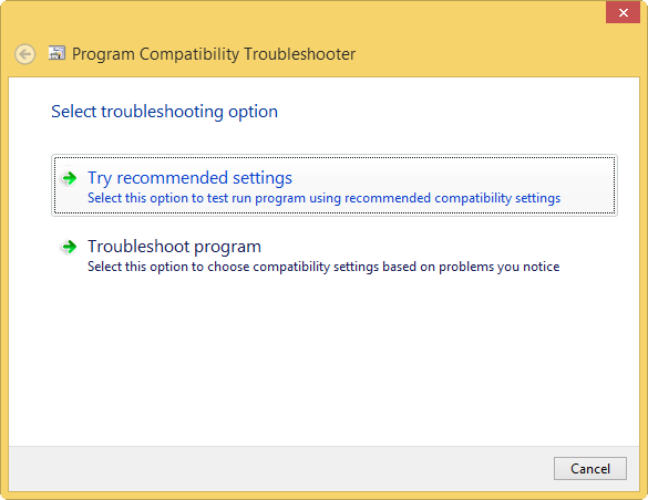 using-the-compatibility-troubleshooter