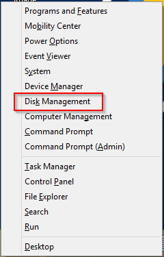 Opening Win + X Menu to open Disk Management