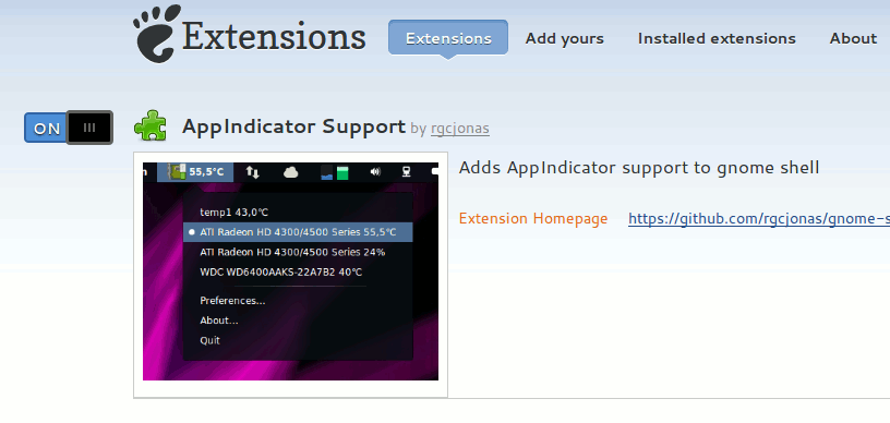 gnome-extension-appindicator-support