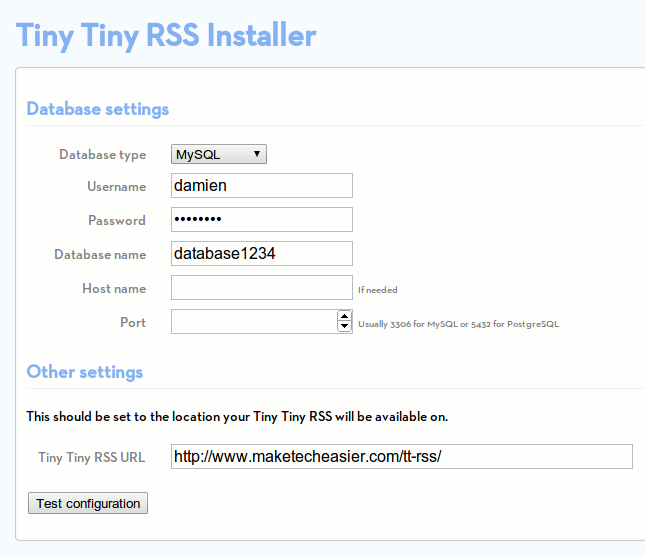 self hosted rss reader with Tiny Tiny RSS
