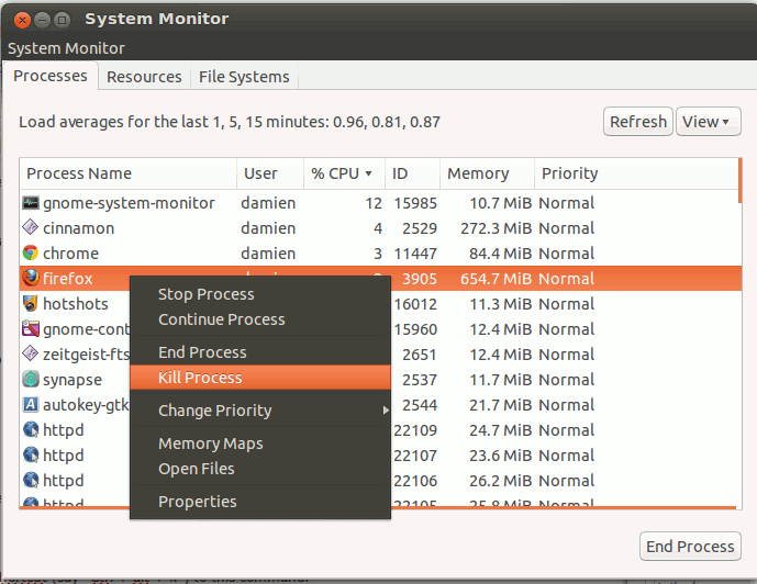 Use the system monitor to kill an unresponsive application in ubuntu
