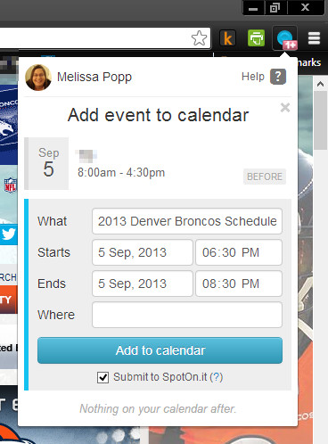 Create Google Calendar event from web page