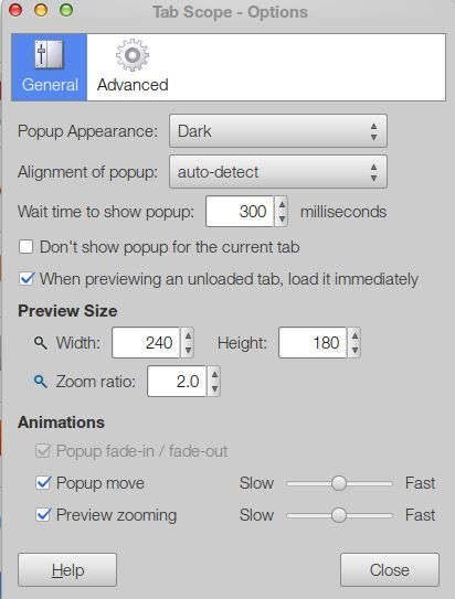 Tab Scope Firefox Add-on Options