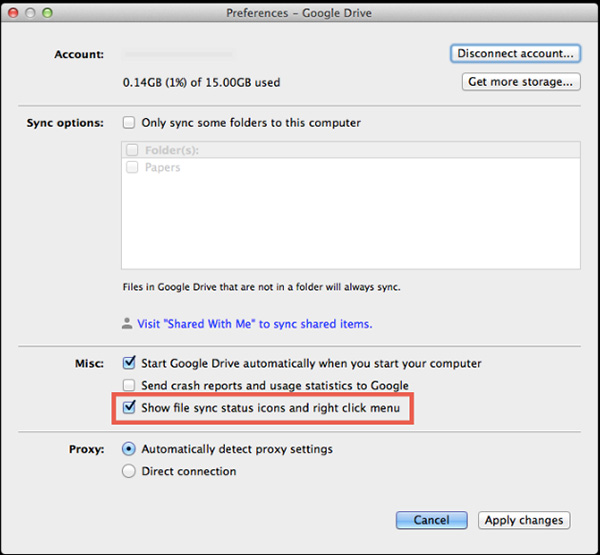 how to make google drive show in finder