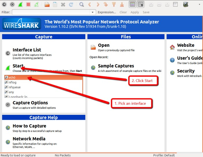 how to start wireshark on linux