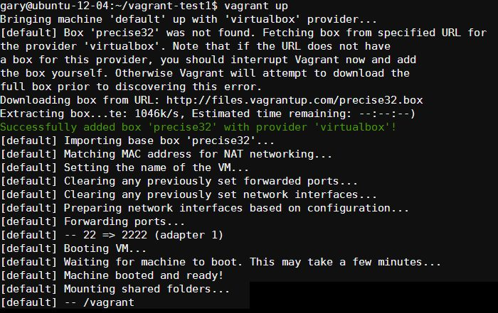 vagrant up - first time