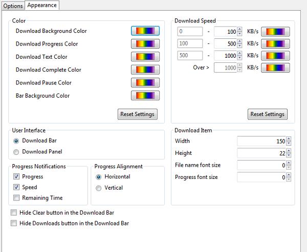 download status bar - colors