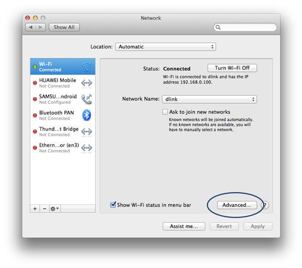 Manage WiFi Networks - Advanced Pane