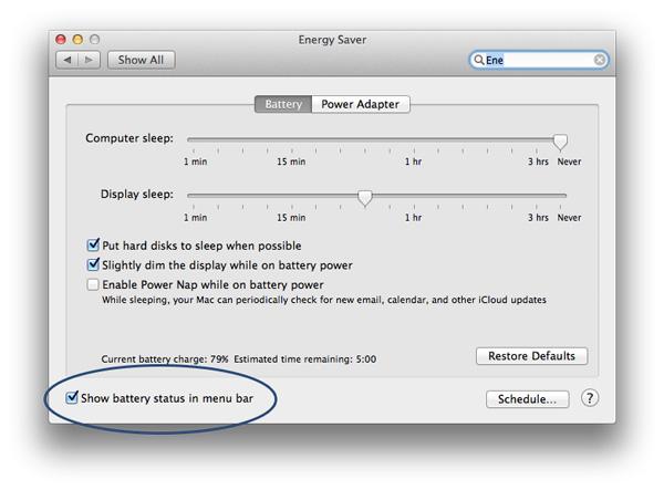 Saving Battery Life on Mac - Show-battery-menu-bar