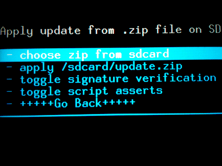 flash a custom rom on Android - choosezip
