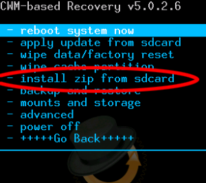 flash a custom rom on Android - installzip