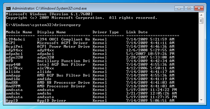 windows-command-line-tools-driverquery Query Format Example on