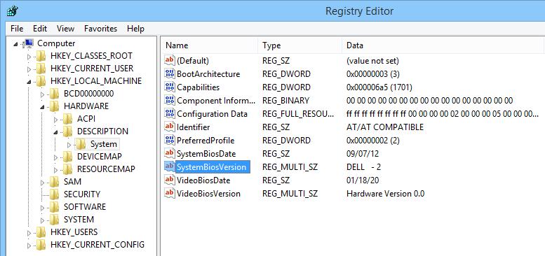 bios-version-windows-registry