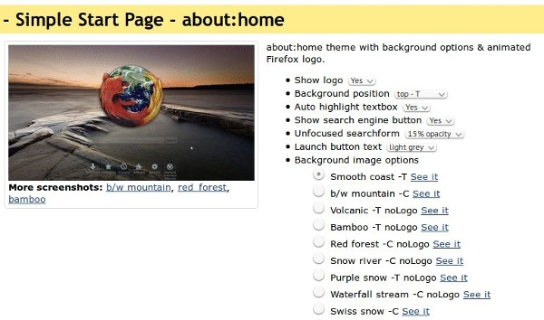 Simple Start Page: about:home theme.