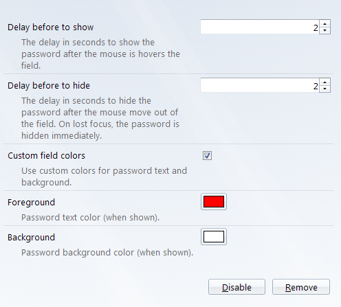Settings page for the Show Password Settings add-on.