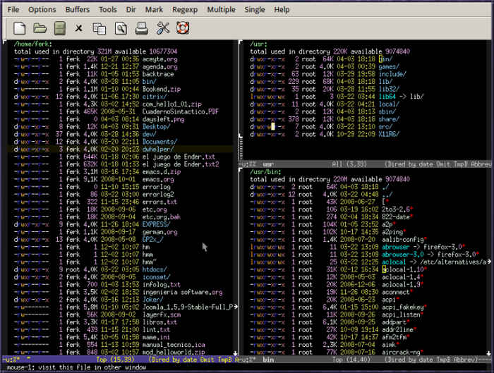 GNU Emacs text editor for Linux.