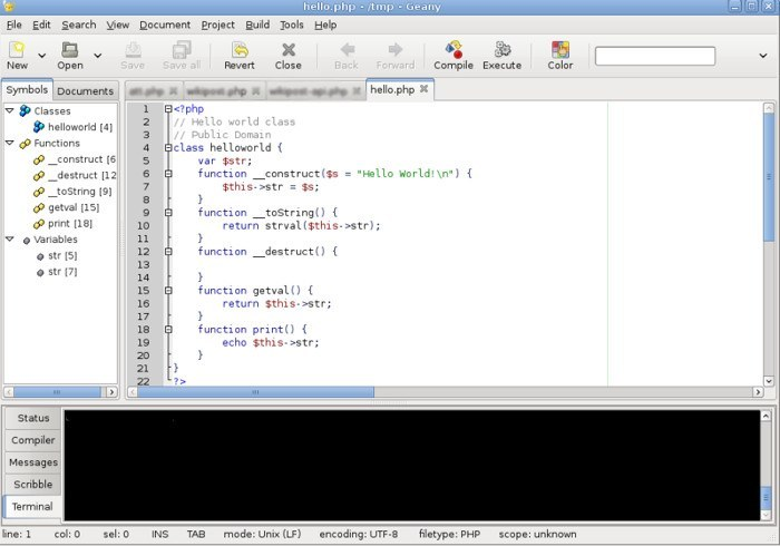 Geany text editors for Linux.