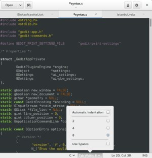 Gedit text editor for Linux.