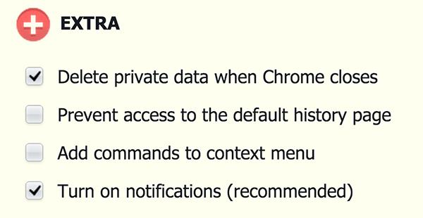 Select the 'Delete private data when Chrome closes' option.