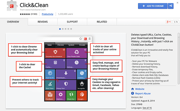 Add the Click&Clean extension to Chrome.