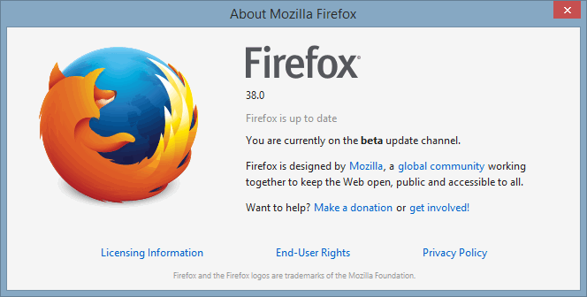 Firefox beta About info.