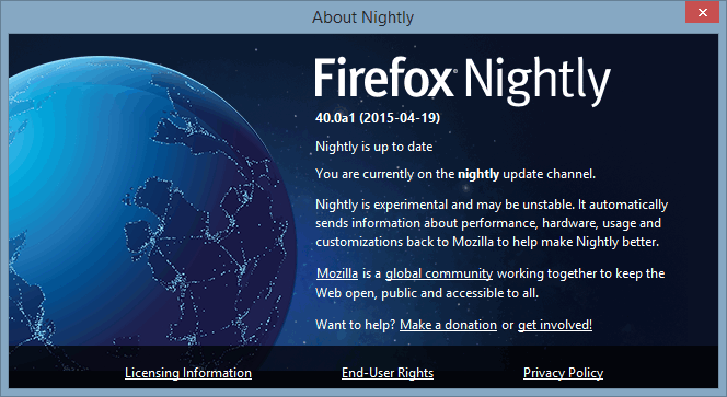 Firefox nightly About info.