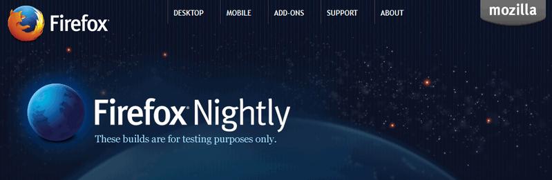 Firefox nightly website.