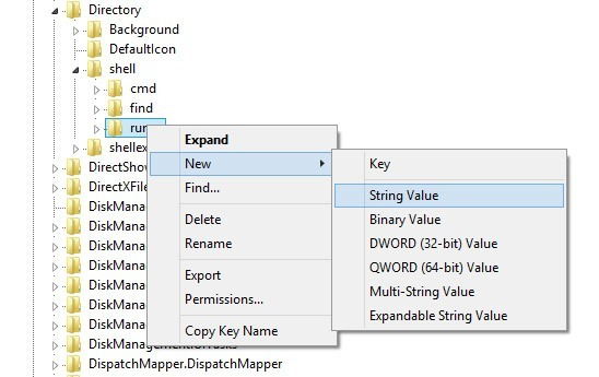 Choose New and select String Value.
