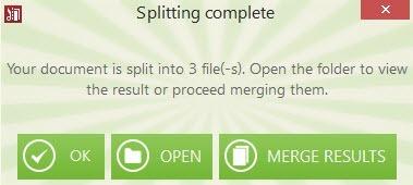 Splitting process complete.